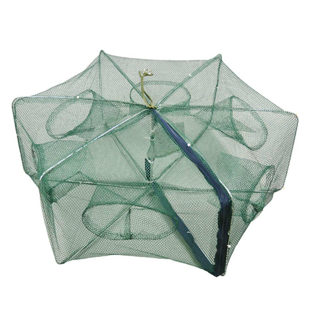 ופש 4-16 חורים מתקפל דיג רשת מתקפל ניילון אוטומטי דיג נטו סרטנים שרימפס דגי מלכודת נטו יצוק רשת
