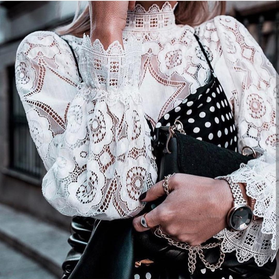 Summer Sexy White Lace Shirt Women Blouses And Tops Cut Out Kimono Translucent Horn Long Sleeve Slim Elegant Shirts
