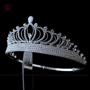 Suggerire di Zircon Rhinestone di Cristallo Corone Diademi Da Sposa Accessori Per Capelli Da Sposa Della Principessa Queen Per La donna Del Partito Clup Mostra 00038