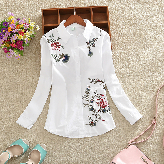 New Fashion flowers embroidered women's clothing women tops blusas  1