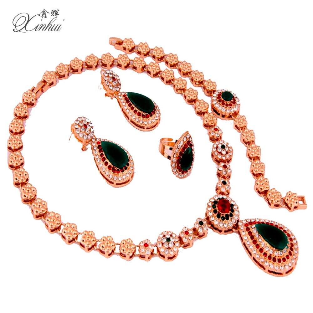 African Gold Plated Green Crystal Rhinestone Dorp Shape Necklace Pendant Bangle Earrings Ring Bridal Wedding Dubai