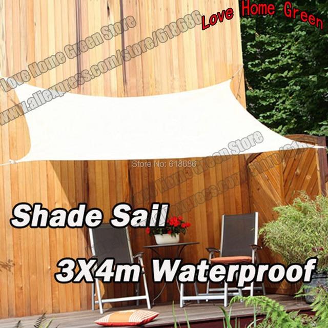 Waterproof UV Rectangle Sun Shade Sail Combination Shade Net Garden awning 3MX4M & Waterproof UV Rectangle Sun Shade Sail Combination Shade Net ...