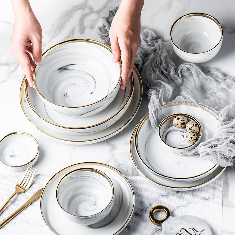 Placas de Jantar de Cerâmica Tigela de Arroz Tigela de Sopa Tigela de Macarrão 1 pc Glod Mármore Prato Salada Louça Define Louça Cozinha Cozinhar Ferramenta
