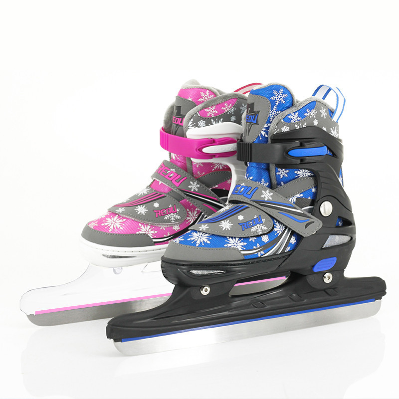 1 Pair Adult Women Children Ice Blade Skates Shoes Adjustable Ice Blade Thermal Adjustable Figure Speed Racing Skating Patines professional 7005 series aluminum tube short track ice blade 16in 64hrc high quality ice skate shoes knife 1 1mm thickness frame