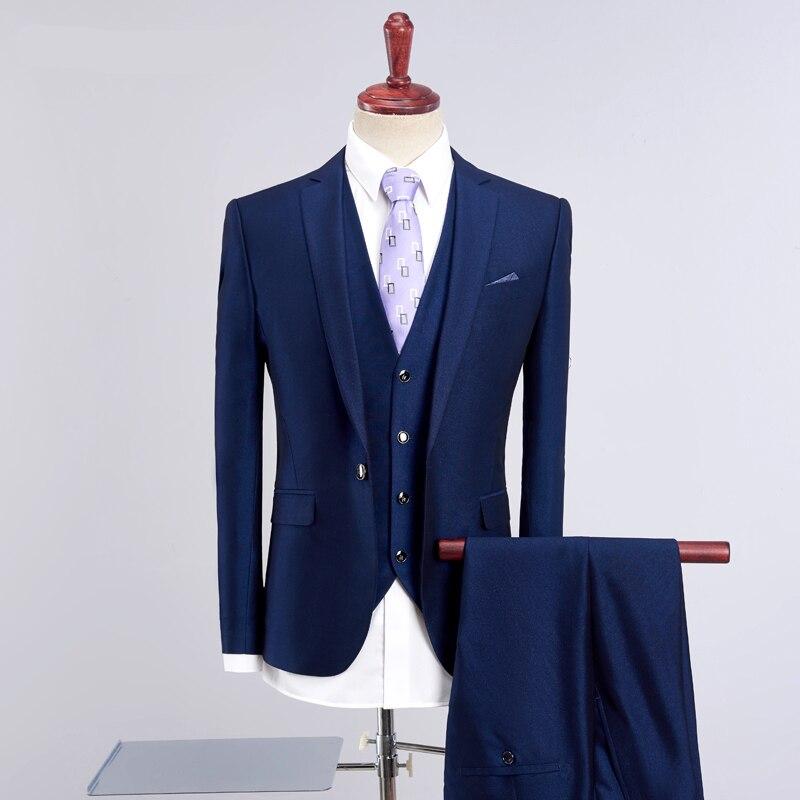 2018 New Arrival Wedding Groom Best Man Blue Suits Slim Business Men Suits 3 Pieces (Jacket+Pants+Vest) Men