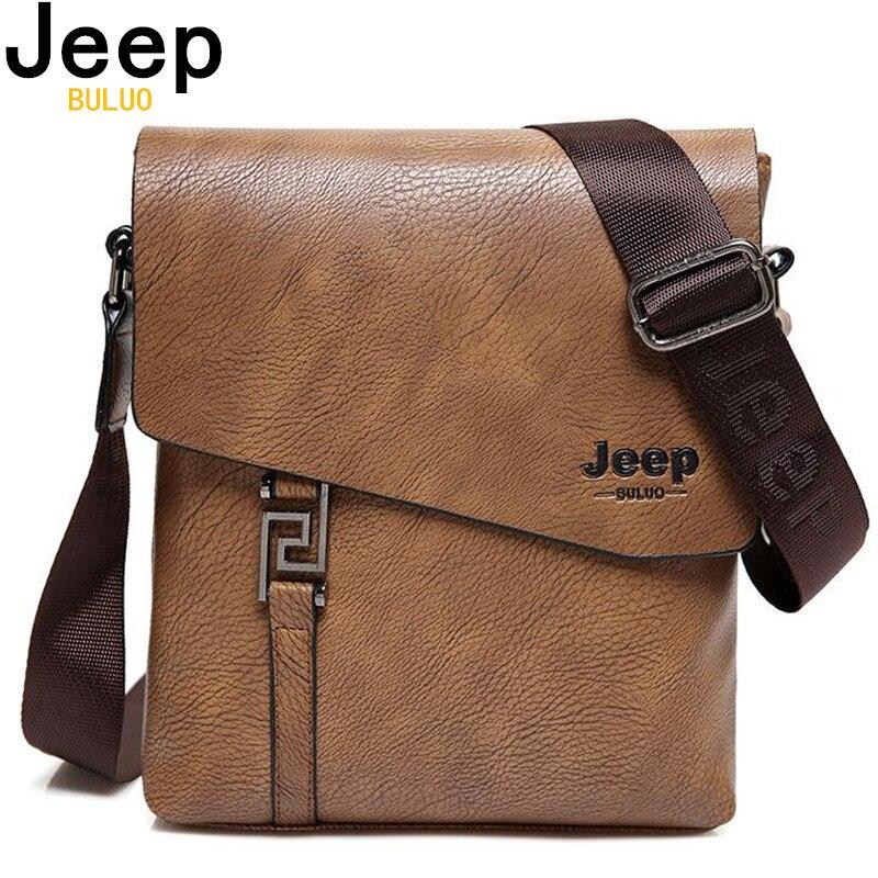 JEEP BULUO de los hombres de la moda bolsas impermeable de cuero de vaca de la bolsa de mensajero, maletín bandolera bolsas bolso de hombro masculino 5846
