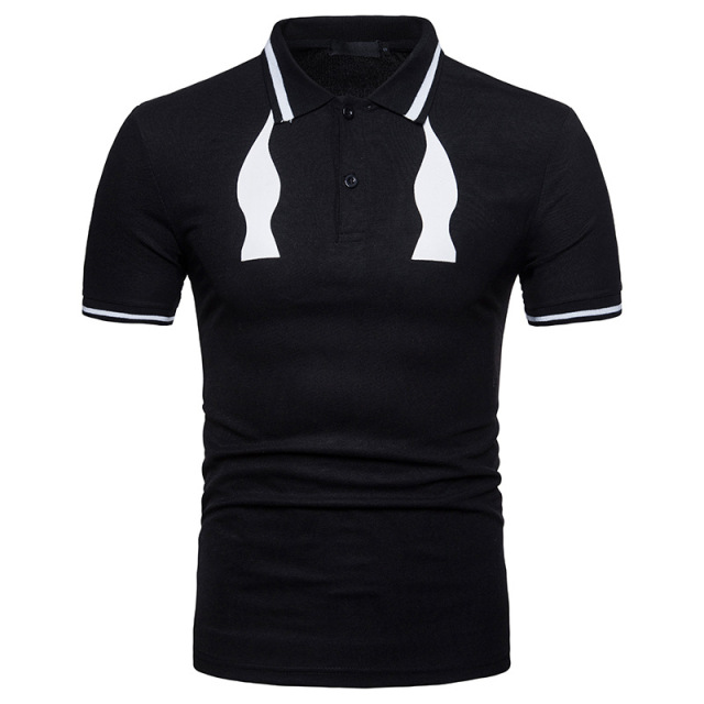 ief.G.S Men's summer basic shortsleeve fashion black white lapel comfortable breathable striped poloshirt Business daily leisure