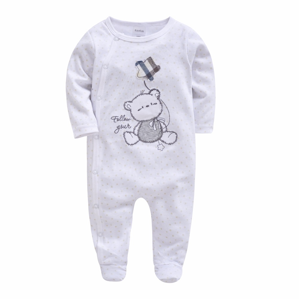 Kavkas Christmas Baby Rompers Costume Bear Embroidery Kids Newborn Clothes Long Sleeve Spring Newborn Infant Clothing