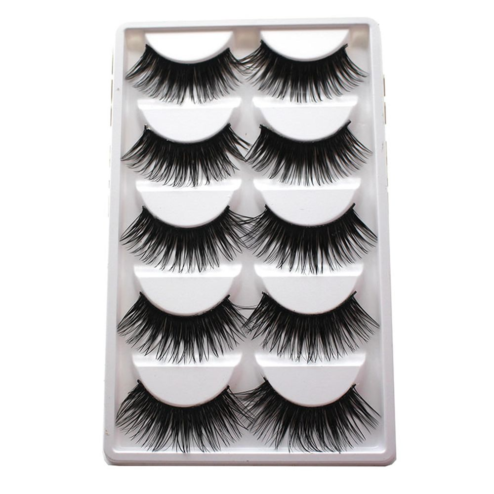 5Pairs/Box Soft Charming Extra Long Thick Cross Natural False Eyelashes Handmade Fake Eye Lashes Makeup Extension Tools