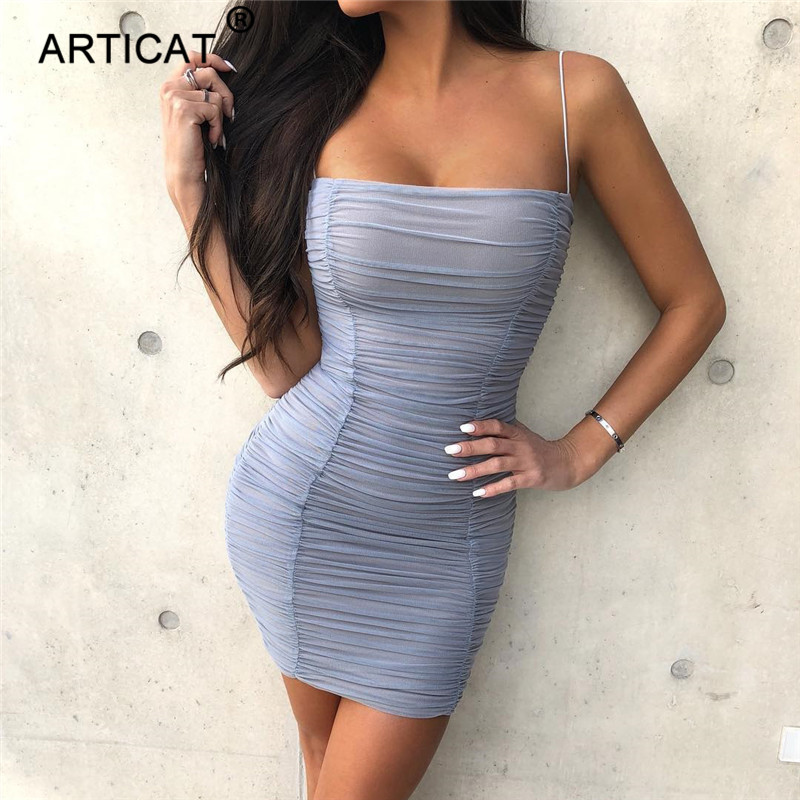 6a254d75865e Vestido de fiesta Sexy de malla transparente con hombros descubiertos para  mujer plisado sin tirantes ajustado vestido elegante vestido de Navidad