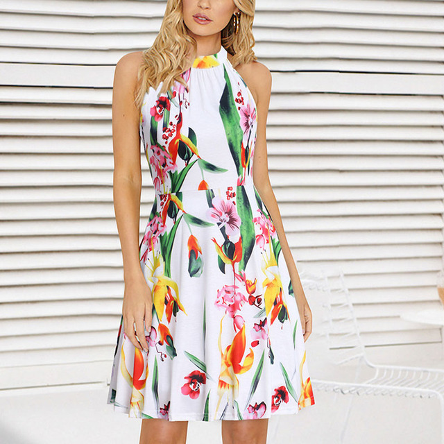 81dad490946 Lady lolita dress elegant Women Summer Slim Sleeveless Printed Boho  Halterneck Dress Beach Party holiday vacation floral dresses