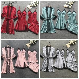 Image 5 - Kadın seksi elbise elbisesi setleri dantel bornoz + gece elbisesi 4 dört adet pijama bayan uyku seti sahte ipek robe Femme iç çamaşırı