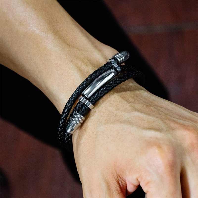 AZIZ BEKKAOUI wygrawerować nazwę rury ze stali nierdzewnej bransoletka ze skóry czarny Punk wielowarstwowe spersonalizowane bransoletki ze stali nierdzewnej dla mężczyzn