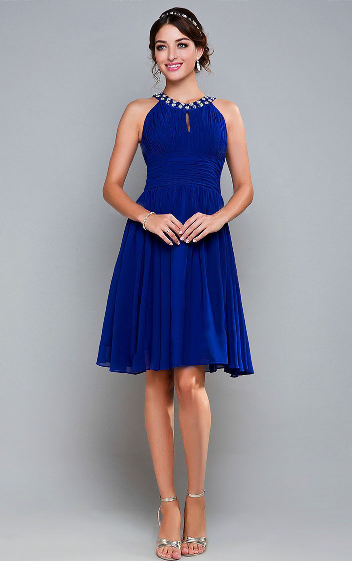 Royal Blue Chiffon Cocktail Dresses Beaded Halter Evening Party ...