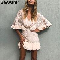 BeAvant Chiffon Ruffle Summer Dress Women Batwing Sleeve Streetwear Causal Dress Hollow Out Pink Short Dress