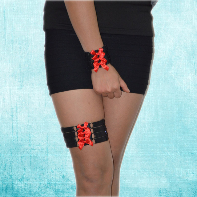 Punk Rock Black Red Ribble Wrist Straps And Leg Garter Belt Harajuku Goth Cage Harness Elastic Party Bracelets Bangles P0135