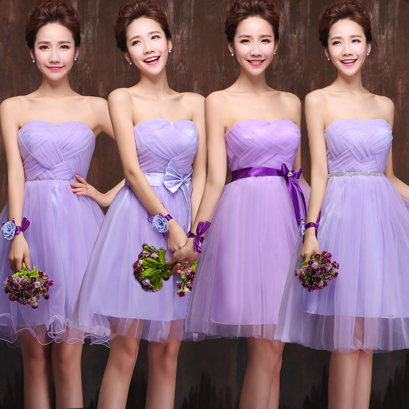 2017 New Fashion Bride Purple Bridesmaid Dress Short Paragraph Sister Group Wedding Mini Women On Aliexpress Alibaba