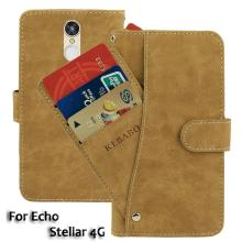 Vintage Leather Wallet Echo Stellar 4G 5 Case Flip Luxury Card Slots Cover Magnet Stand Phone Protective Bags