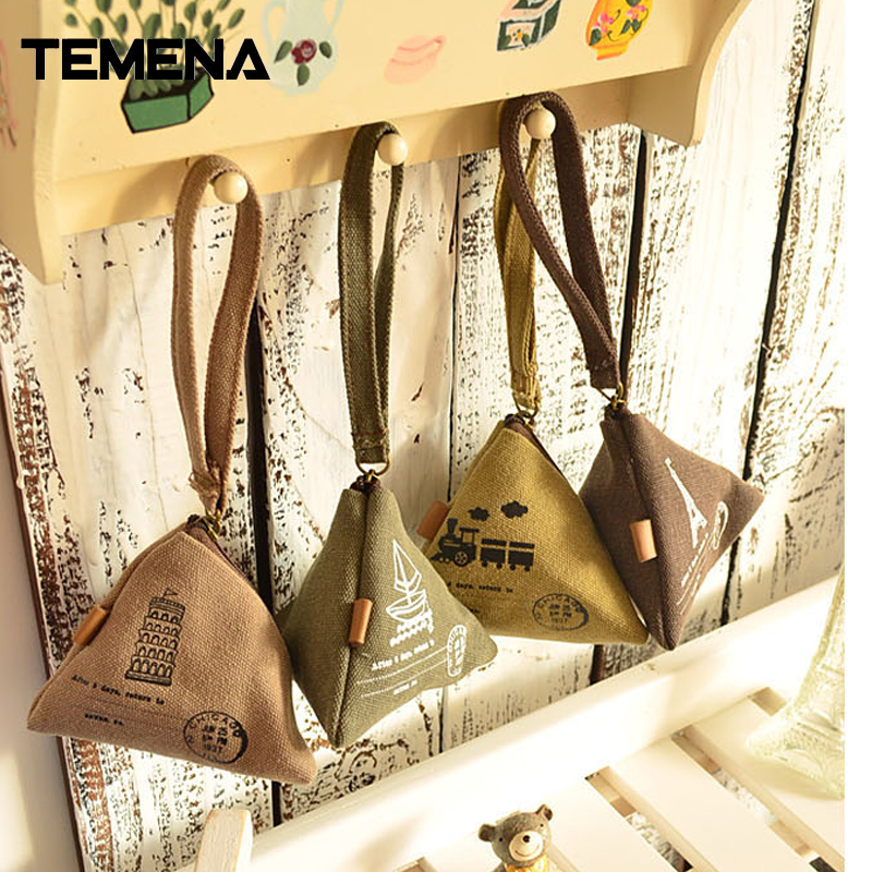 Temena 1PCS Women Canvas Coin Purse Retro Classic Nostalgic Small Money Bags Fashion Vintage Zipper Coin Purse wallets ACP313