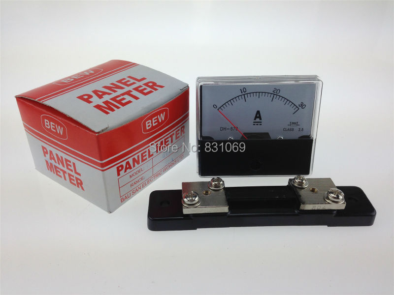 1Pieces/Lot DH670 DC 0-30A 30A + Shunt Analog Amp Panel Meter Current Ammeter Brand New