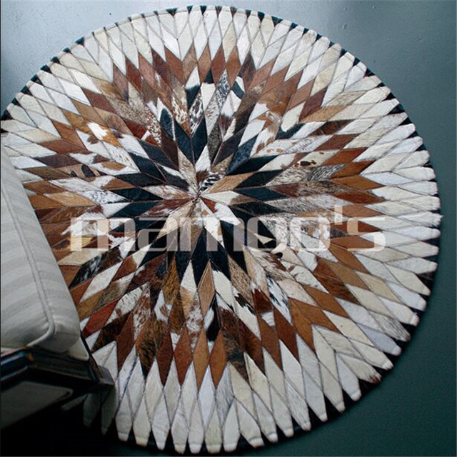 Import cow leather carpet diameter 100cm 150cm Round Floor Carpets For Living Room Bathroom Circle Mat Rug round ground mat