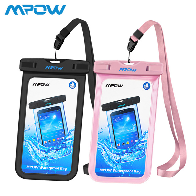 new york a0ef2 cf609 2Pack Mpow PA085 IPX8 Waterproof Phone Bag Case Pouch 6 inch Crystal Clear  Window Underwater Home Button Cutout For Swim Diving-in Phone Pouch from ...