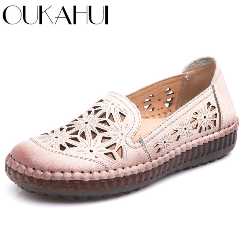 OUKAHUI Fit Wide Foot Handmade Genuine Leather Flat Shoes Women Summer Shoes Lady Loafers Breathable Soft Hollow Female Shoes