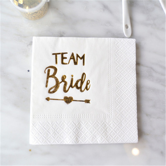 5pcslot Gold Happy Birthday Just Married Party Paper Napkins