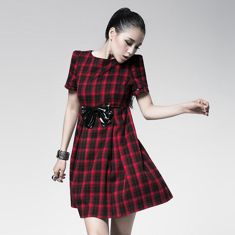 Punk red plaid dress