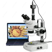 Buy online LED Trinocular Stereo Microscope–AmScope Supplies 3.5X-90X LED Trinocular Zoom Stereo Microscope + 5MP Digital Camera