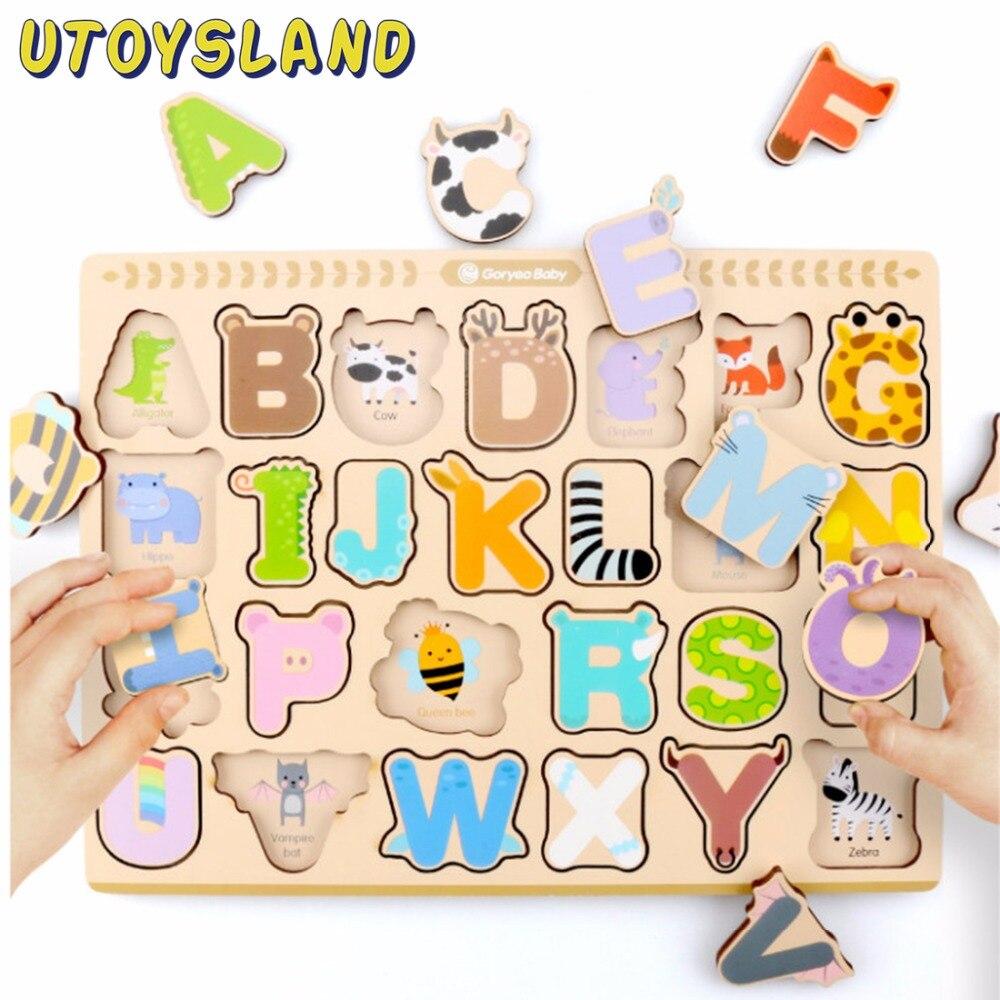 U Juguetes Tierra Alfabeto De Dibujos Animados Rompecabezas De Madera  Juegos De Mesa Tangram Jigsaw Niños Carta Aprendizaje Educativo Juguetes  Para Niños