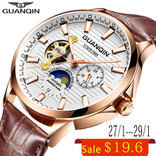 GUANQIN 2018 business watch men Automatic Luminous clock men Tourbillon waterproof Mechanical watch top brand relogio masculino