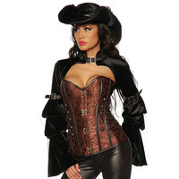 Corzzet Steampunk Long Sleeve Black Jacket And Brown Overbust Corsets And Bustiers Burlesque Women Costume Victorian