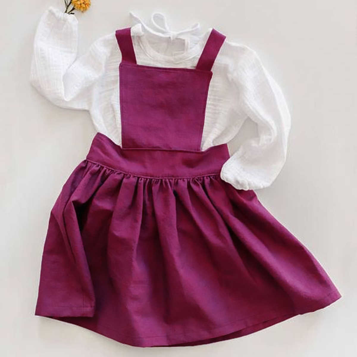 Комплект из 2 предметов, Милый хлопковый Белый боди с длинными рукавами для новорожденных девочек, топы, рубашка платье на подтяжках цвета фуксии, летняя одежда