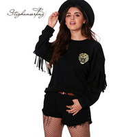 Plus Size Solid Black Tiger Embroidered Women Sweatshirts O-neck Long Sleeve Tassel Female Pullovers Casual Brief Lady