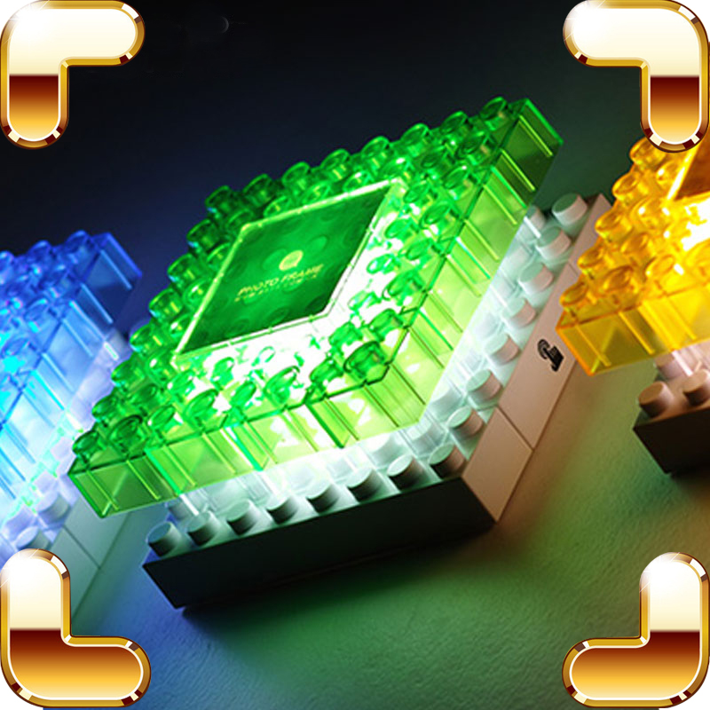 New Year Gift LED Blocks Toys Assemble Photo Frame Light Creative Present DIY Bed Decoration Night Lights Home Useful Toy Bricks