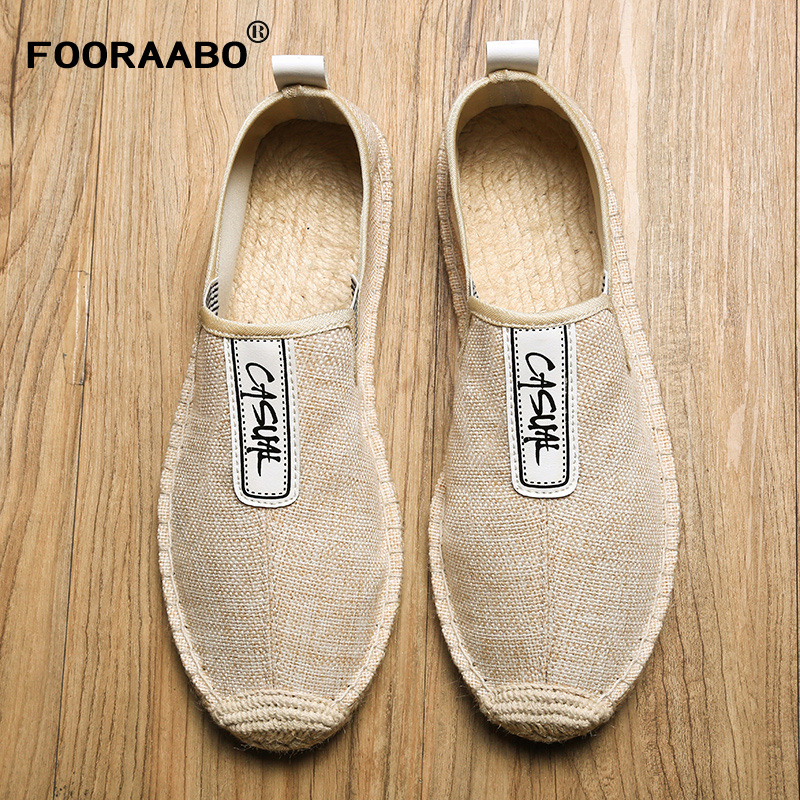 FOORAABO Summer Breathable Footwear Mens Flat Canvas Shoes Hemp Lazy Flats For Men Cheap Moccasins Male Loafers Driving Shoes