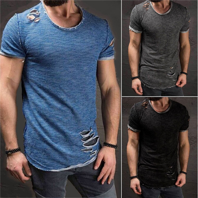 6ef11a4381e 2019 Fashion Summer Ripped Clothes Men Tee Hole Solid T-Shirt Slim Fit O  Neck Short Sleeve Muscle Casual Jersey Tops T Shirts
