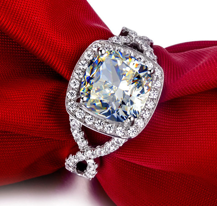 3 carat cushion cut simulated gem halo engagement rings