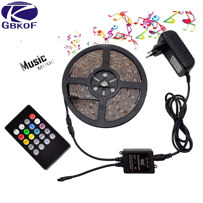 GBKOF 5050 3528 RGB led strip light 5M 10M Waterproof SMD Diode Tape led Ribbon With Music Remote Controller DC12V Power Adapter 10m 5m 3528 5050 rgb led strip light non waterproof led light 10m flexible rgb diode led tape set remote control power adapter