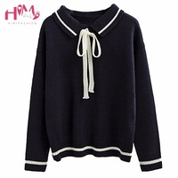 Spring And Autumn Korean College Literature Sweet Fresh Tie Lapel Long Sleeve Set HHead Sweater Schoolgirl