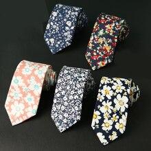 Mantieqingway 6cm Fashion Cotton Neck Ties for Mens Floral Printed Gravatas Slim Marriage Skinny Flower Tie Neckwear Cravat
