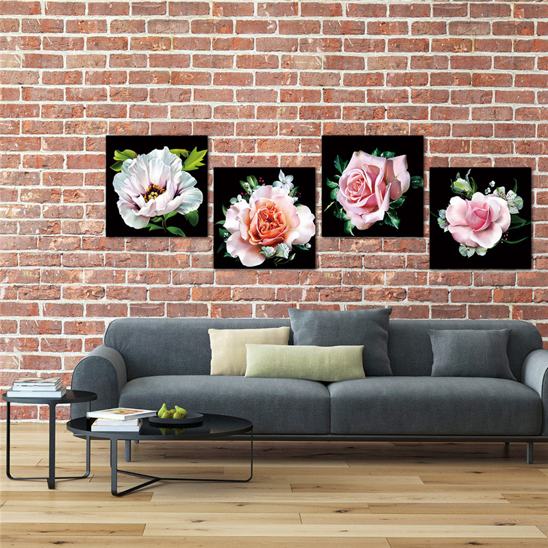 Lærredsmaleri Moderne kunst Oljemaling Modulær roseblomstbilleder - Indretning af hjemmet - Foto 3