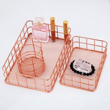 High Quality Wrought Iron Storage Basket Rose Gold Storage Box Desktop Debris Basket Modern Home Storage Racks Office Accessory(China)
