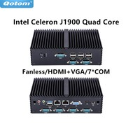 Qotom mini PC Qotom Q190X 7 RS232 dual Lan 8 USB celeron J1900 quad core Fanless X86 POS KIOSK IPC Computer