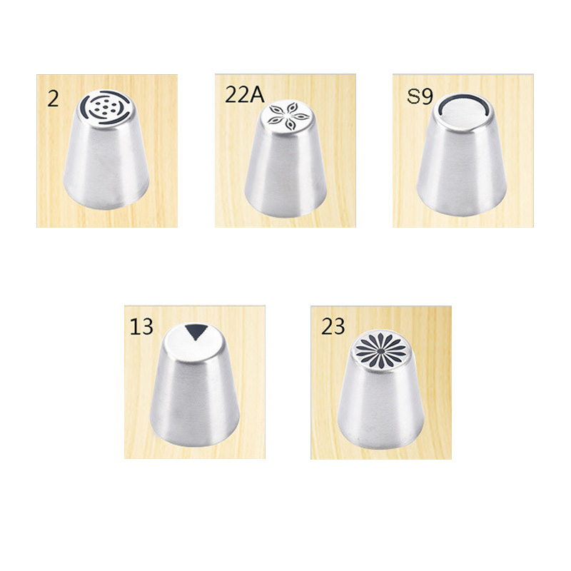 5PCS / Set Cream Cake Gadgets Icing Piping Russian Nozzle Pastry Tips IceCream Cake Decorating Tip Tools