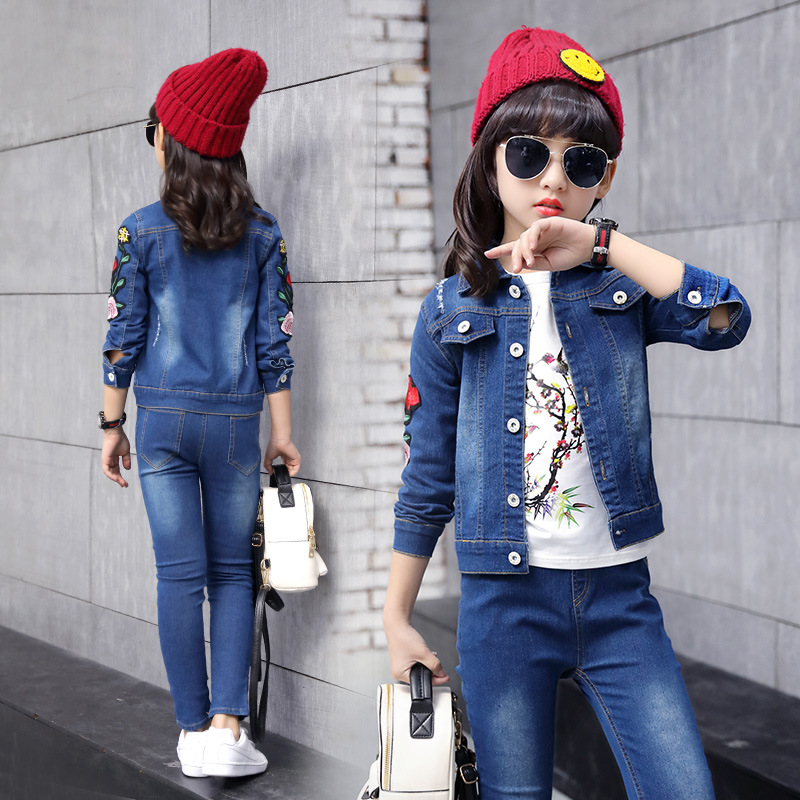 Spring Children Clothing Sport Suit Tracksuit for Girls Clothes Sets Demin Jeans Suits Coats Jackets+Pants Sets For Kids Clothes children s clothing 2018 new girls spring denim clothes sets kids mesh dress suits personality suit baby child casual jackets