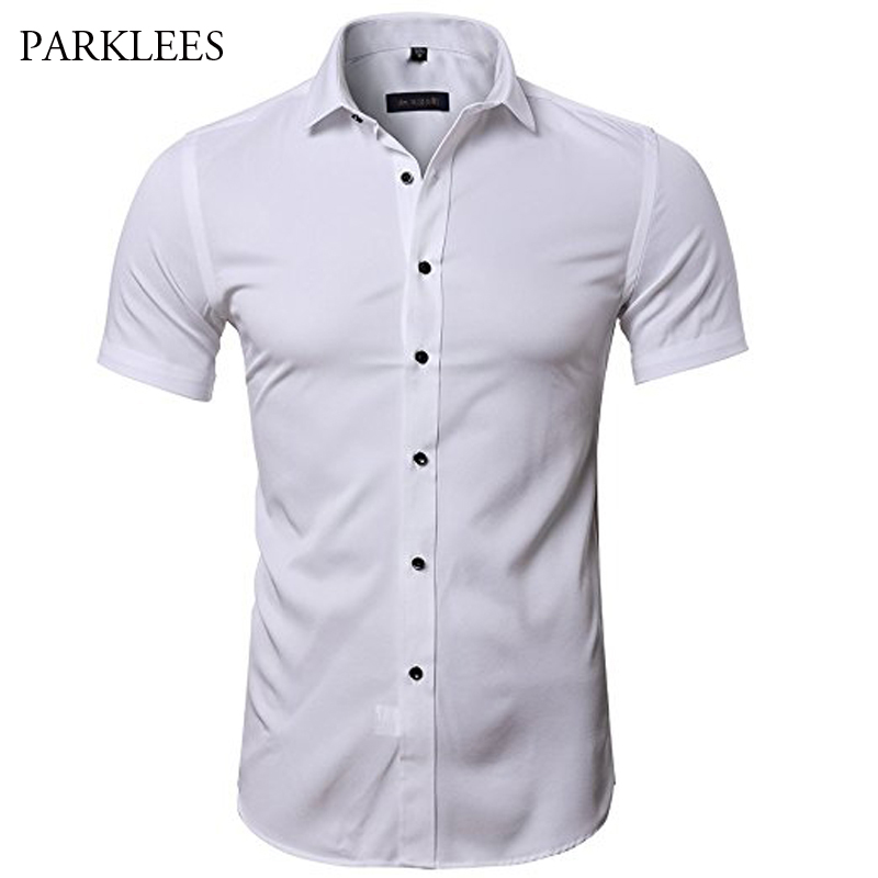 Mens Hipster Elastic Bamboo Fiber Dress Shirts Slim Short Sleeve Casual Button Down Work Shirt Easy Care Solid Non Iron Chemise
