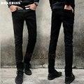 Осень Новая версия мода черный denim balmai Эластичность Тонкий Прямой тип робин мужчины случайные бренд-одежда узкие джинсы D2