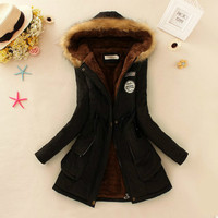 S XXXL Winter New Women's Military Chapter Peach Skin Hooded Fur Collar Waist Plus Velvet Thick Warm Long Cotton Coat